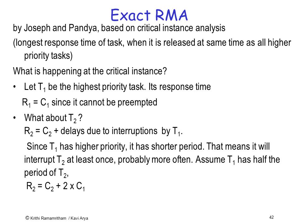 Exact RMA by Joseph and Pandya, based on critical instance analysis