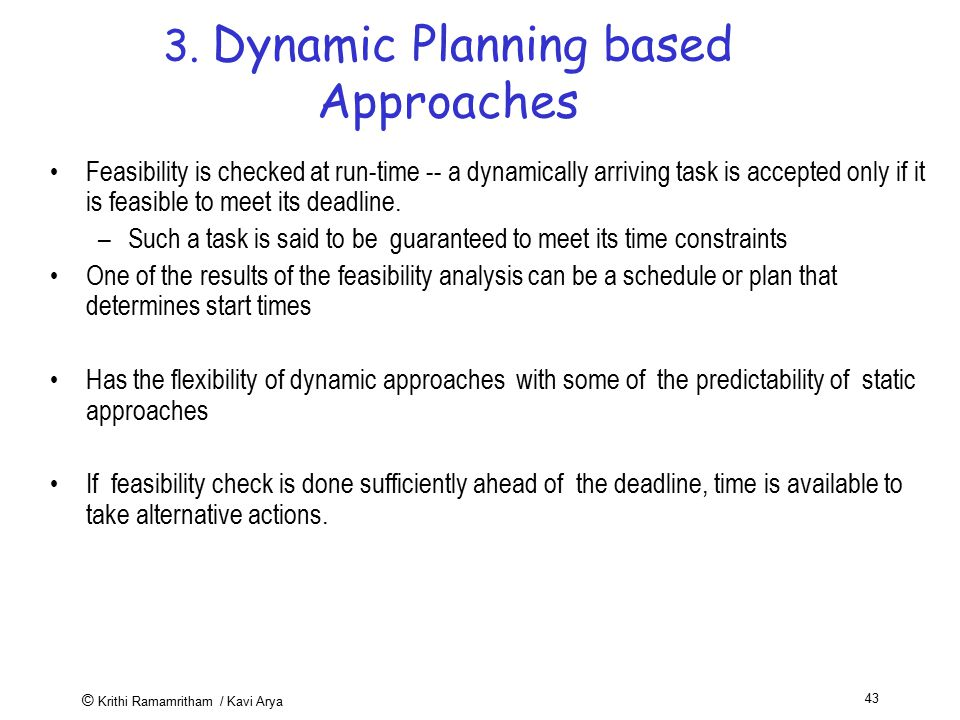 3. Dynamic Planning based Approaches