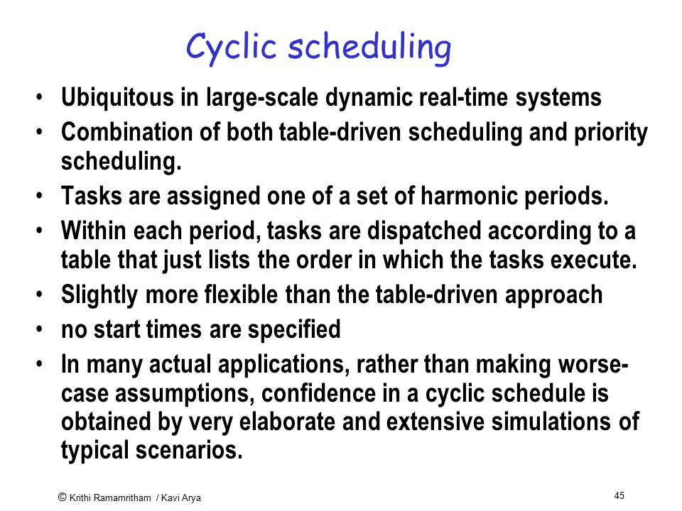 Cyclic scheduling Ubiquitous in large-scale dynamic real-time systems