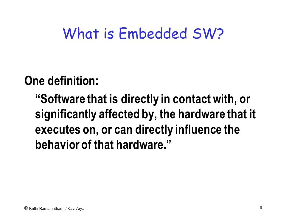 What is Embedded SW One definition: