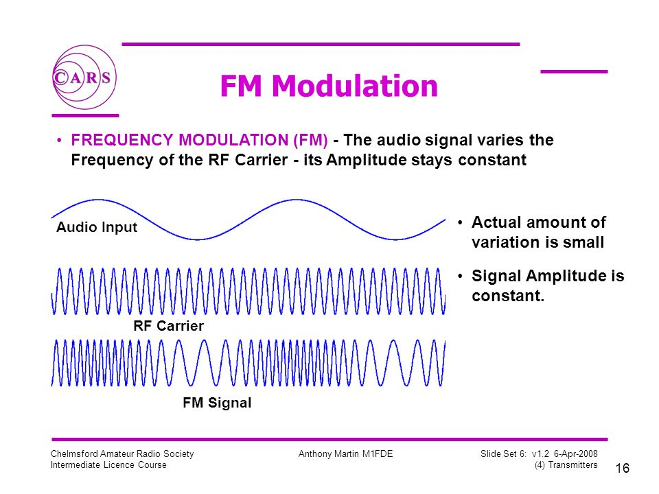 FM Modulation FREQUENCY MODULATION (FM) - The audio signal varies the Frequency of the RF Carrier - its Amplitude stays constant.