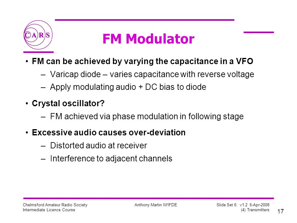 FM Modulator FM can be achieved by varying the capacitance in a VFO