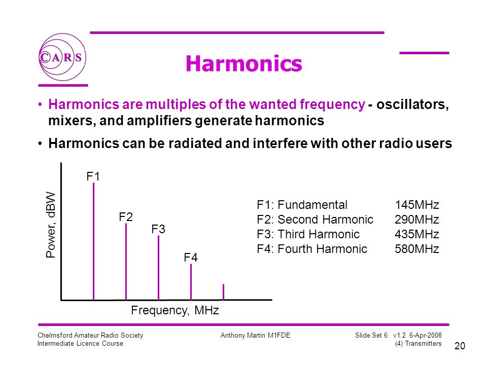 Harmonics Harmonics are multiples of the wanted frequency - oscillators, mixers, and amplifiers generate harmonics.