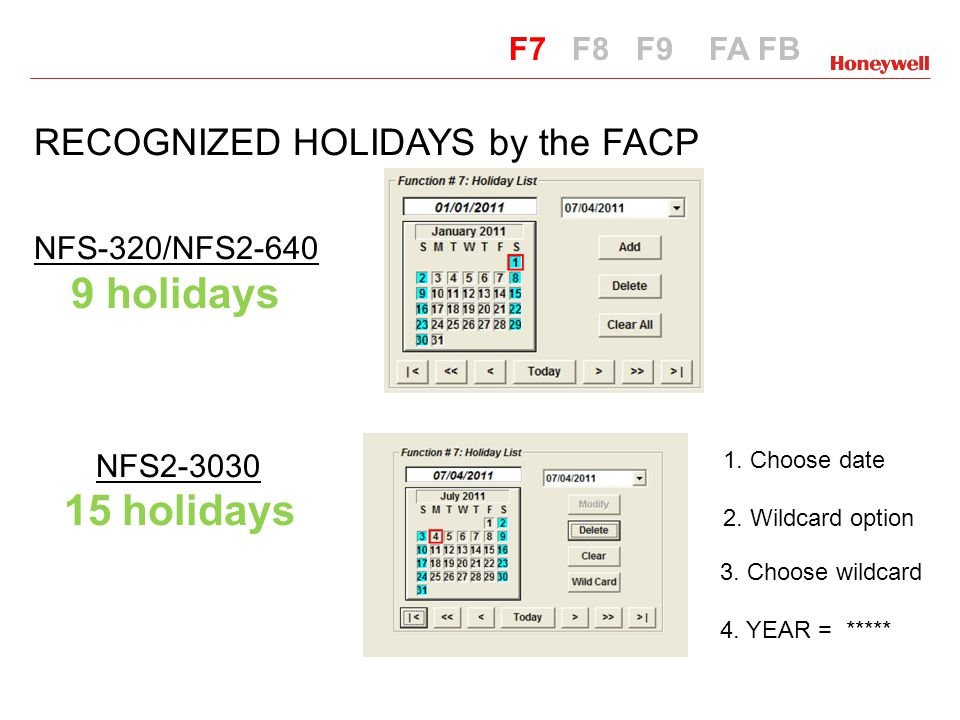 RECOGNIZED HOLIDAYS by the FACP