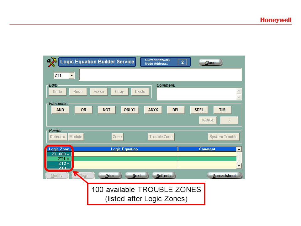 100 available TROUBLE ZONES (listed after Logic Zones)