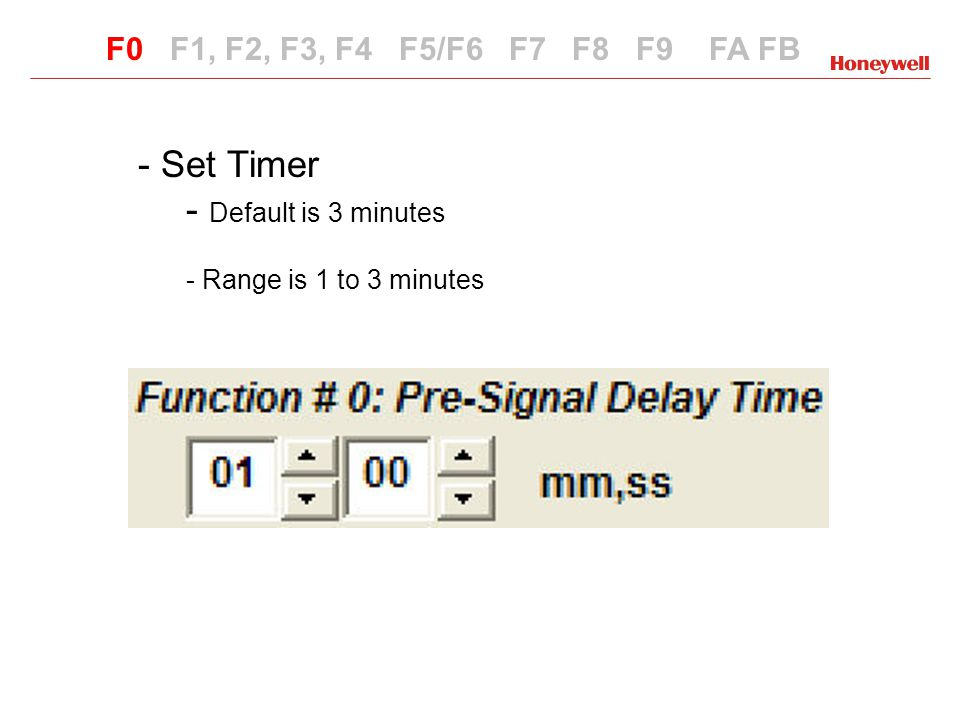 Set Timer Default is 3 minutes F0 F1, F2, F3, F4 F5/F6 F7 F8 F9 FA FB