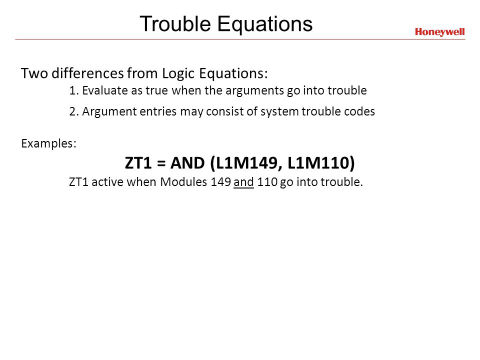 Trouble Equations ZT1 = AND (L1M149, L1M110)