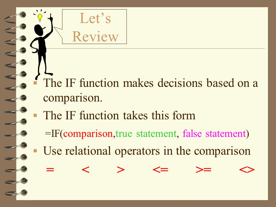 Let's Review The IF function makes decisions based on a comparison.