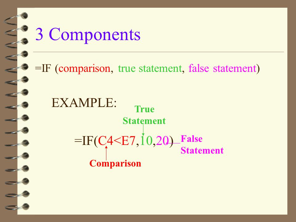 3 Components EXAMPLE: =IF(C4<E7,10,20)