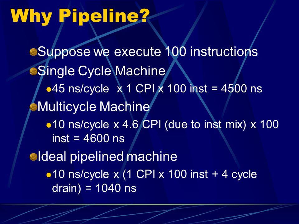 Why Pipeline Suppose we execute 100 instructions Single Cycle Machine