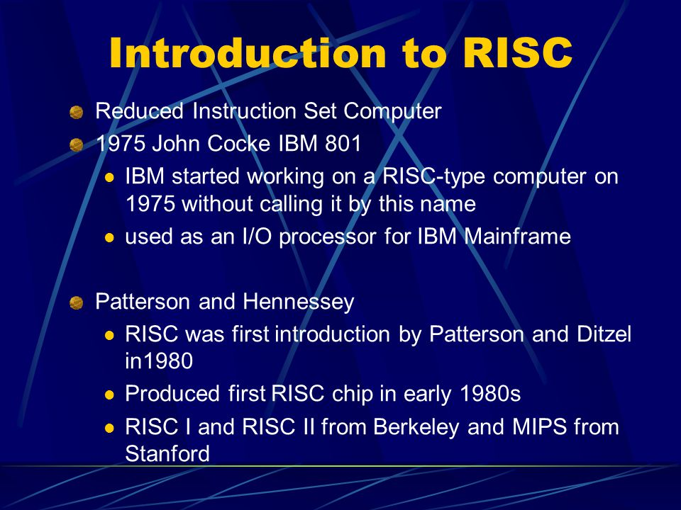 Introduction to RISC Reduced Instruction Set Computer