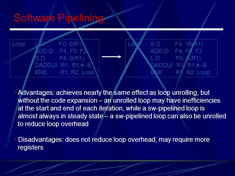 Software Pipelining Loop: L.D F0, 0(R1) ADD.D F4, F0, F2. S.D F4, 0(R1) DADDUI R1, R1,# -8.
