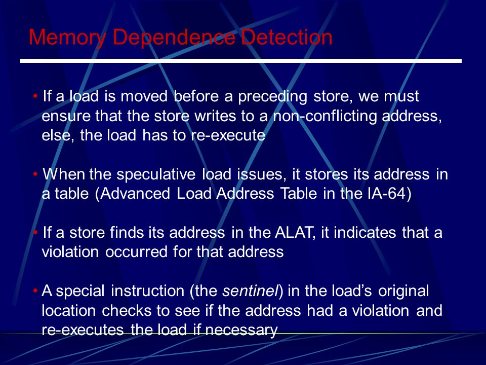 Memory Dependence Detection