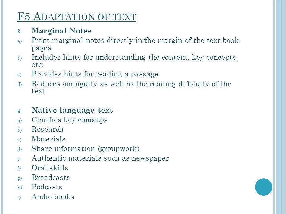 F5 Adaptation of text Marginal Notes