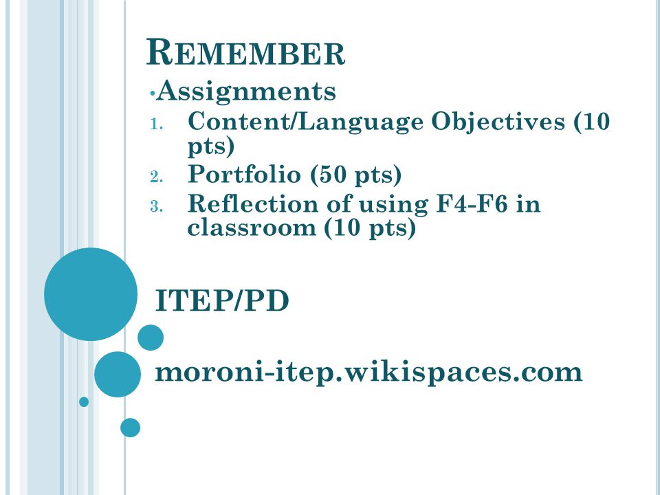 Remember ITEP/PD moroni-itep.wikispaces.com Assignments