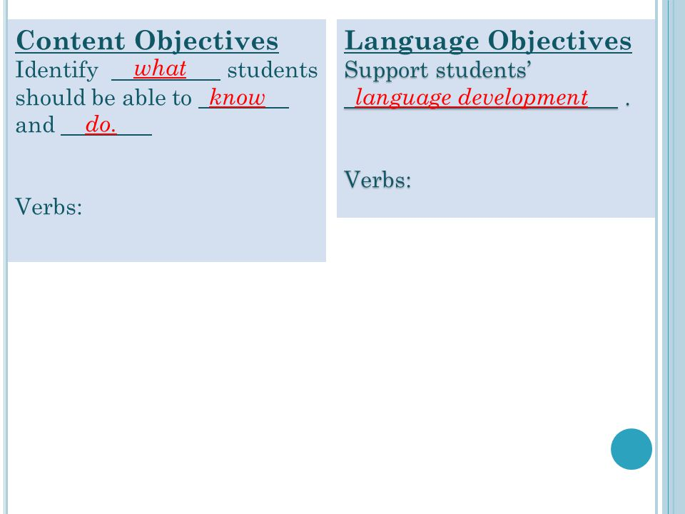 Content Objectives Identify students should be able to and
