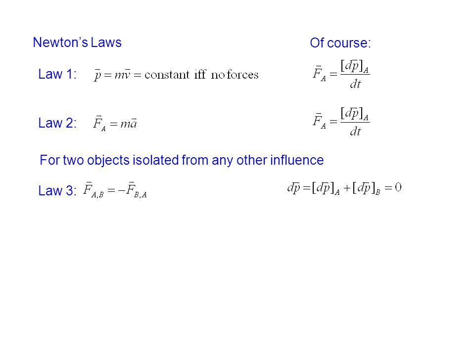 Newton's Laws Of course: Law 1: Law 2: For two objects isolated from any other influence Law 3: