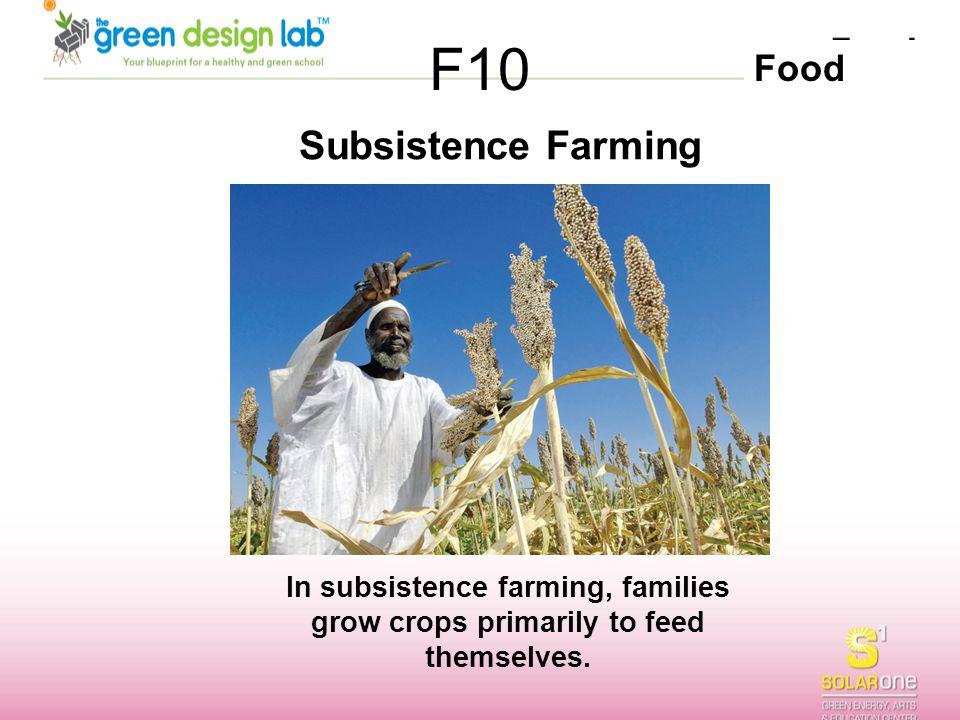 F10 Subsistence Farming.