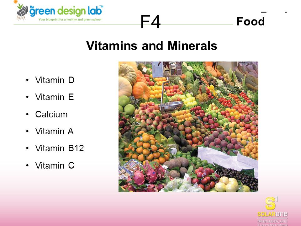 F4 Vitamins and Minerals Vitamin D Vitamin E Calcium Vitamin A