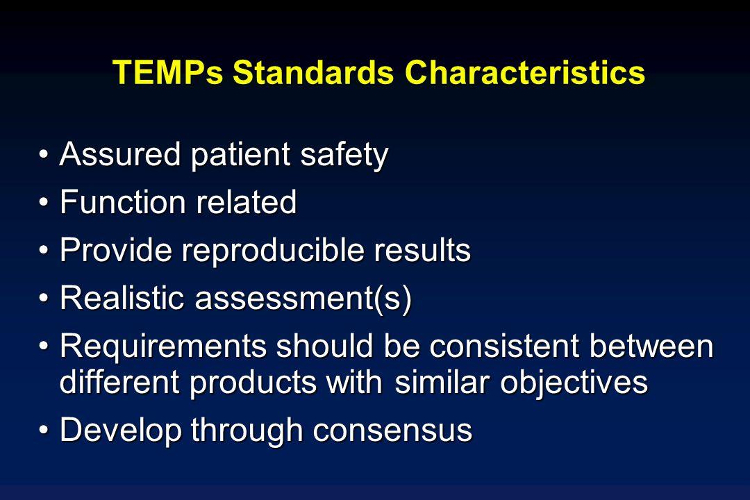 TEMPs Standards Characteristics