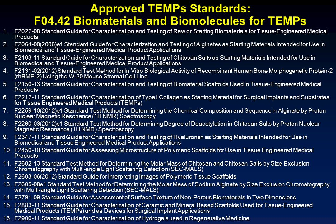 Approved TEMPs Standards: F04