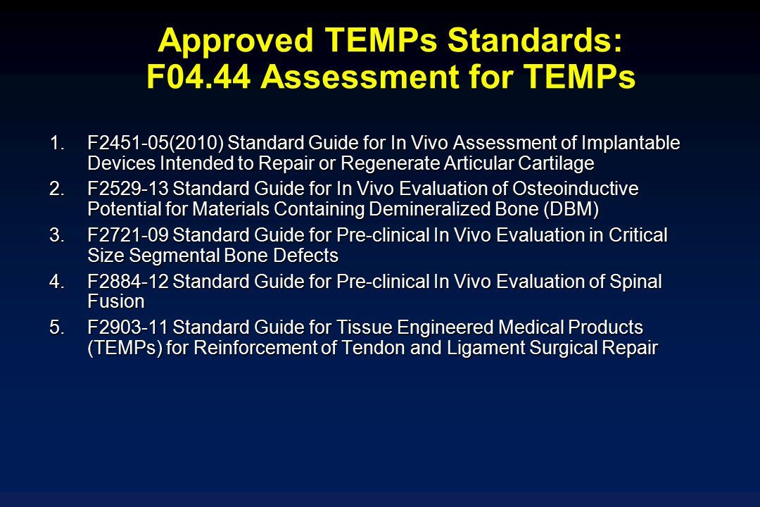 Approved TEMPs Standards: