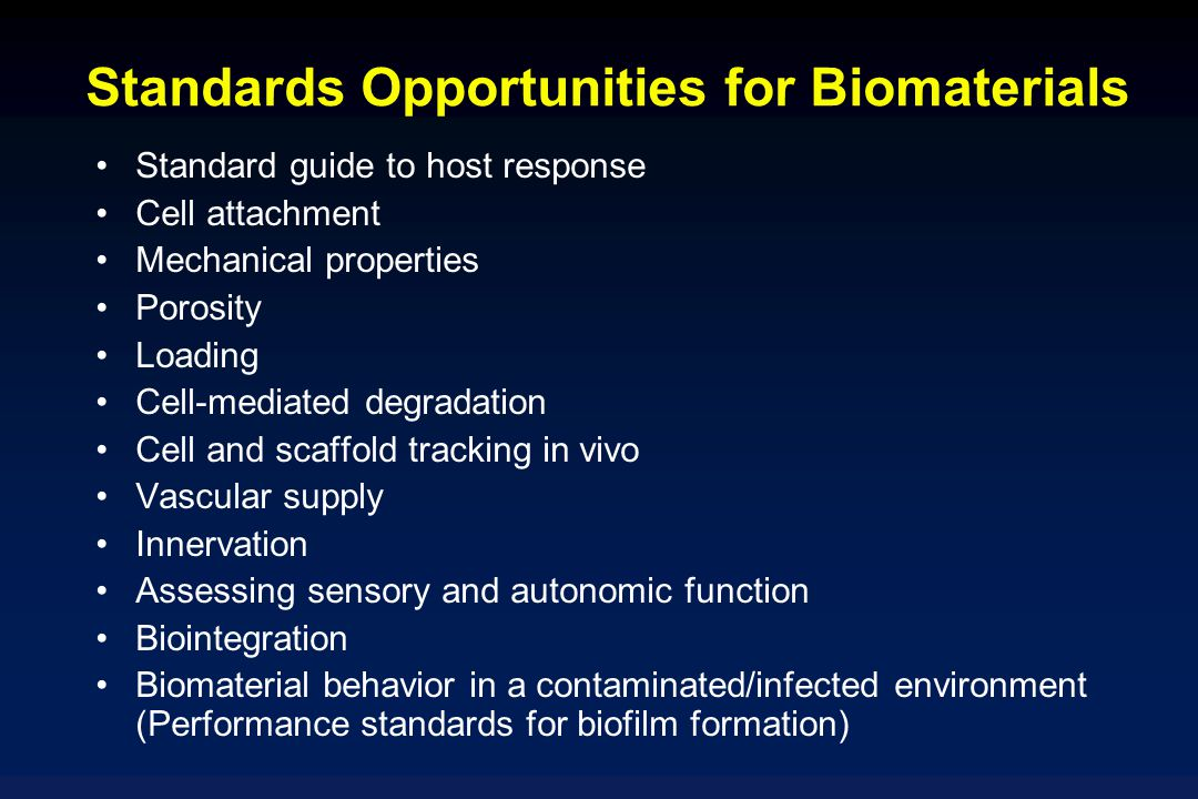 Standards Opportunities for Biomaterials