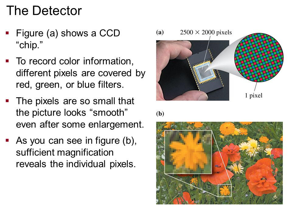 The Detector Figure (a) shows a CCD chip.