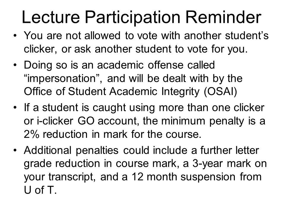 Lecture Participation Reminder