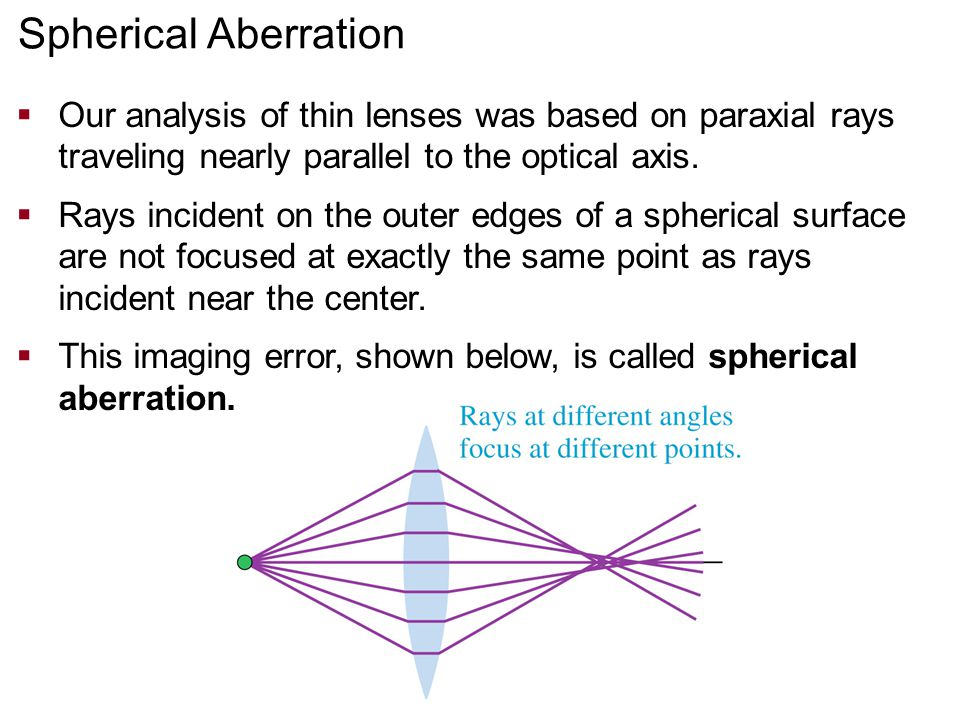 Spherical Aberration Our analysis of thin lenses was based on paraxial rays traveling nearly parallel to the optical axis.