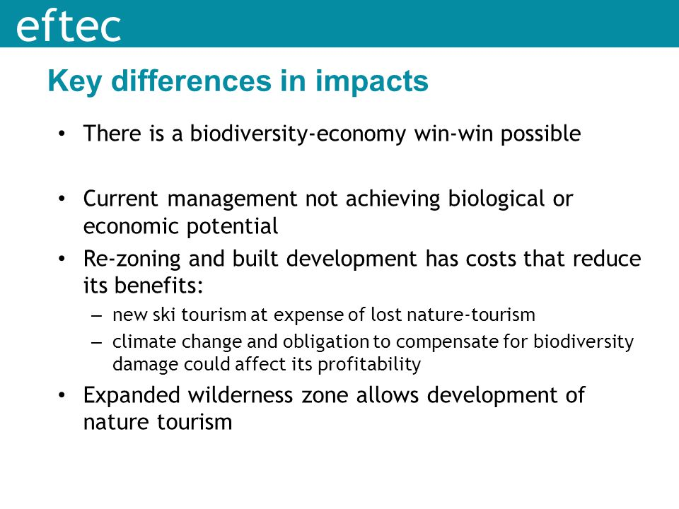 Key differences in impacts