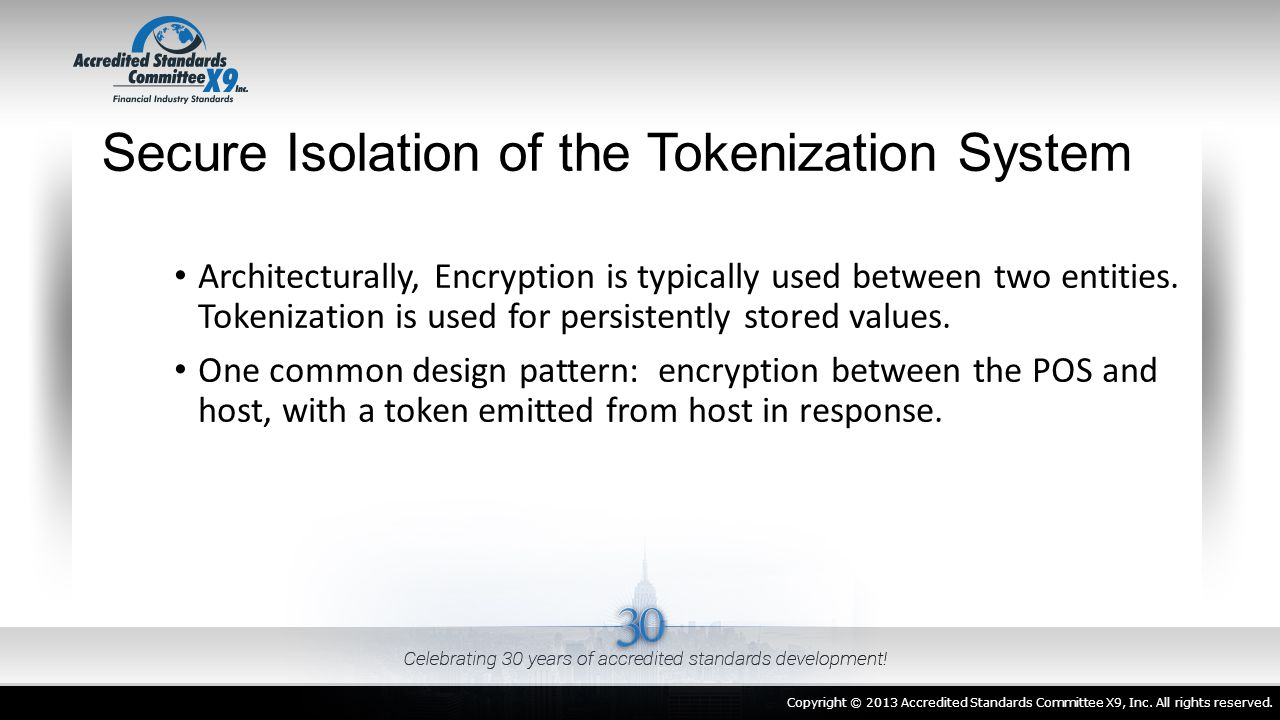Secure Isolation of the Tokenization System