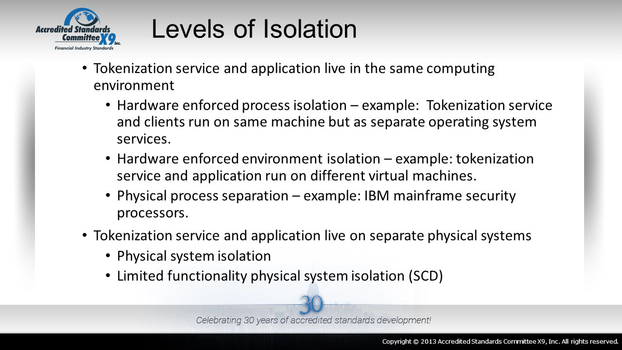 Levels of Isolation Tokenization service and application live in the same computing environment.