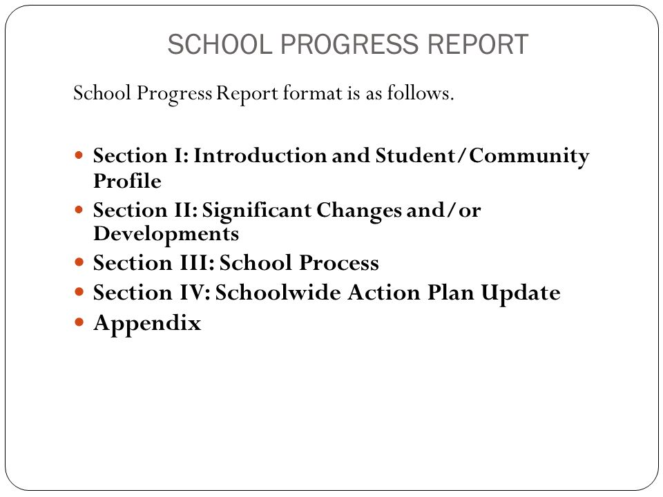 SCHOOL PROGRESS REPORT