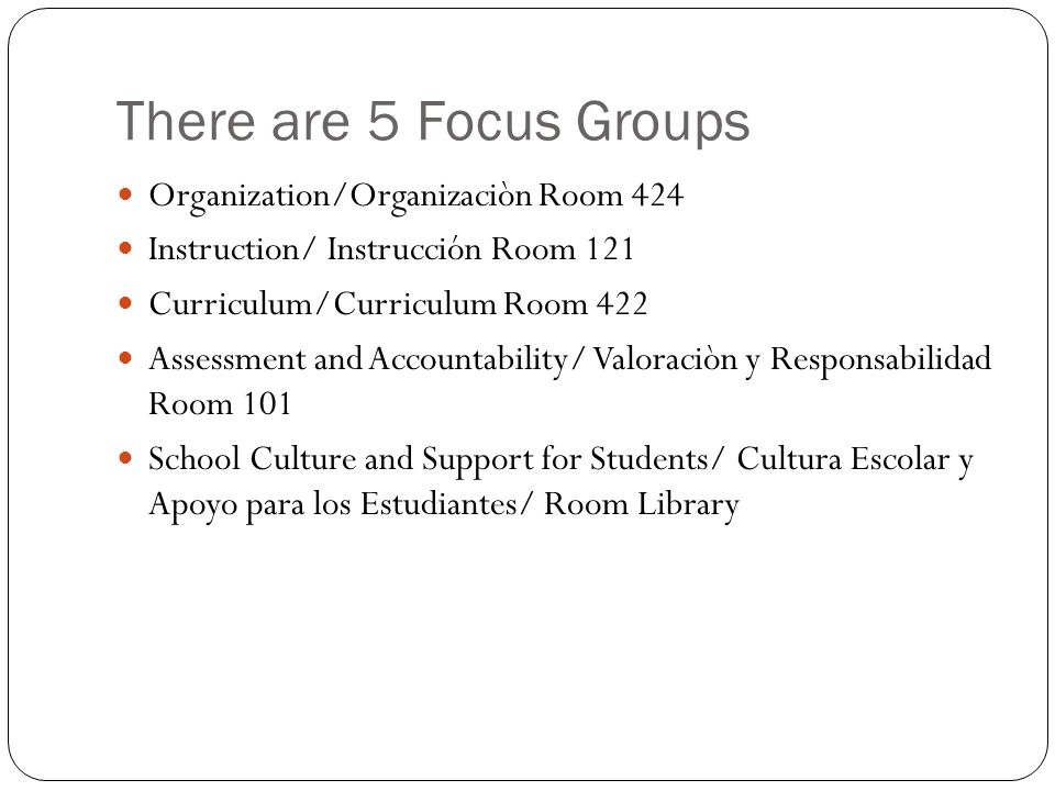 There are 5 Focus Groups Organization/Organizaciòn Room 424