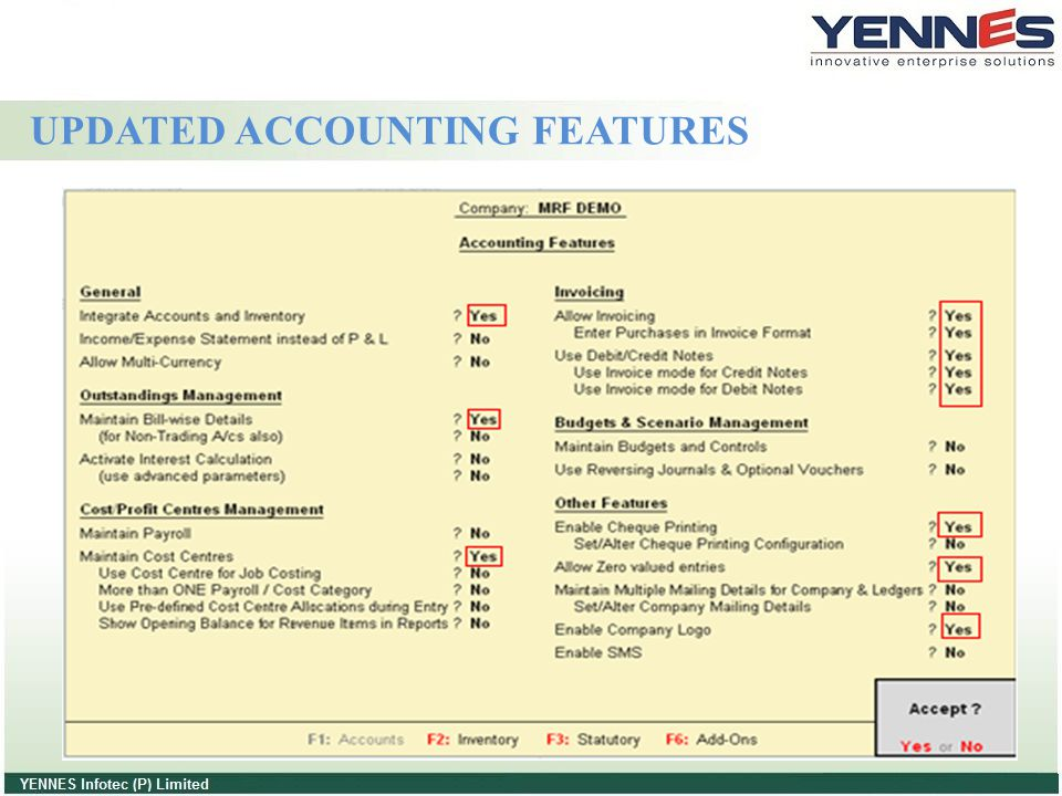 UPDATED ACCOUNTING FEATURES