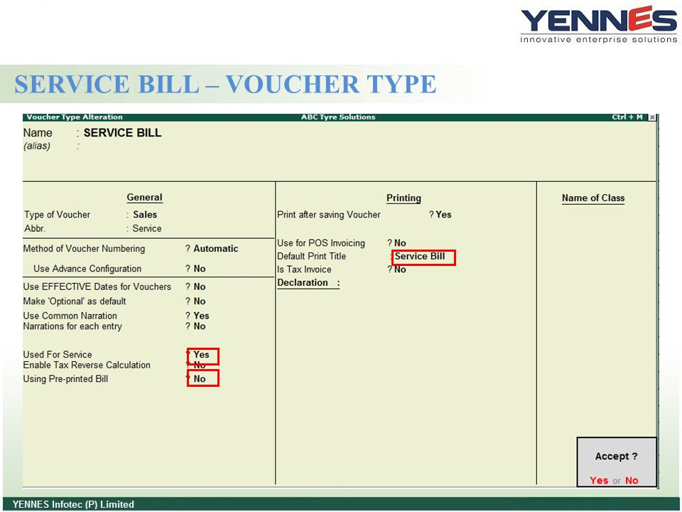 SERVICE BILL – VOUCHER TYPE