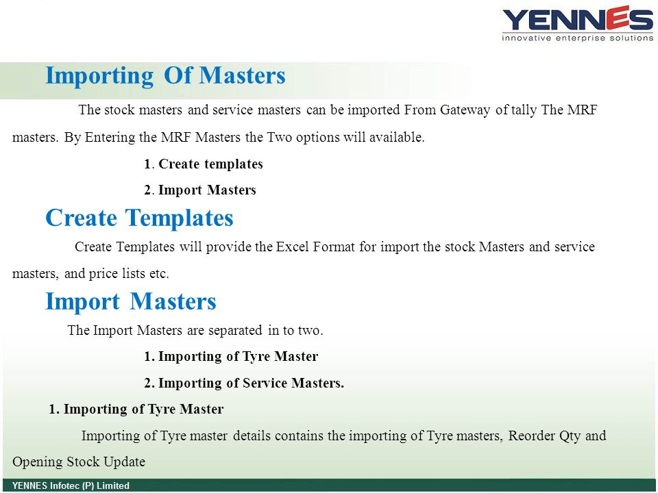 Importing Of Masters Create Templates Import Masters