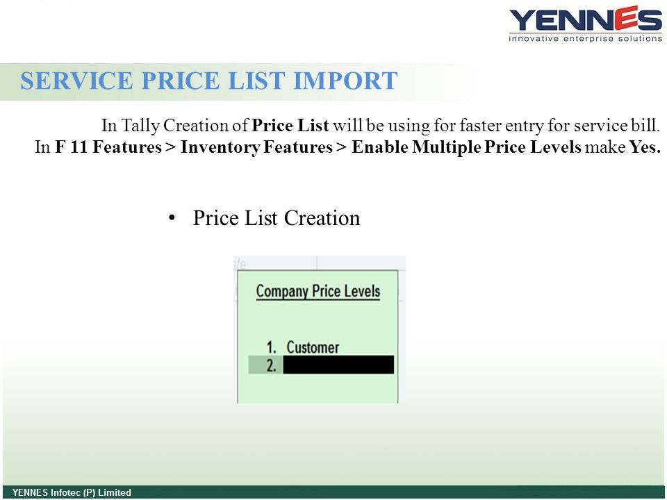SERVICE PRICE LIST IMPORT