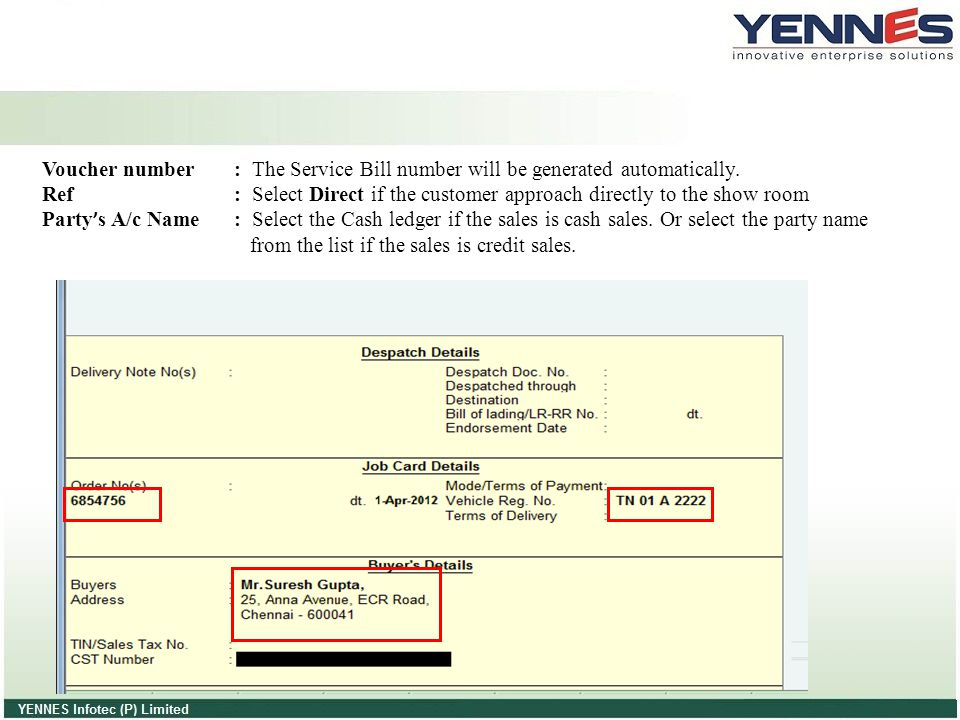 Voucher number : The Service Bill number will be generated automatically.