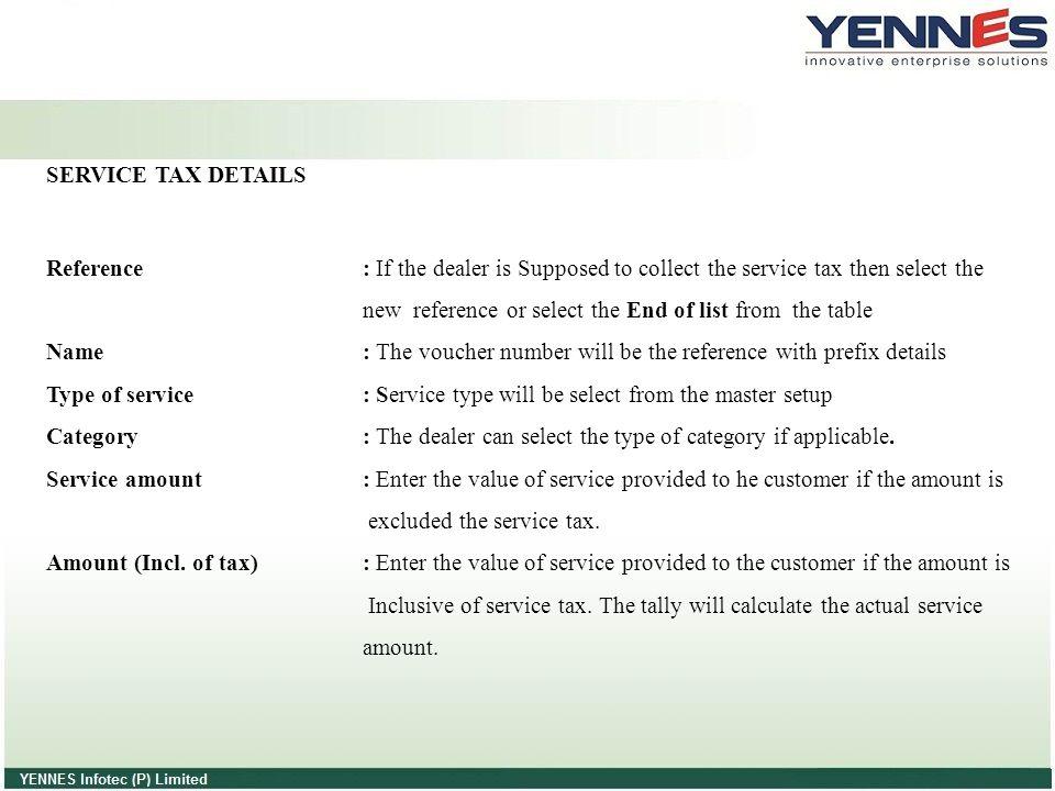 SERVICE TAX DETAILS