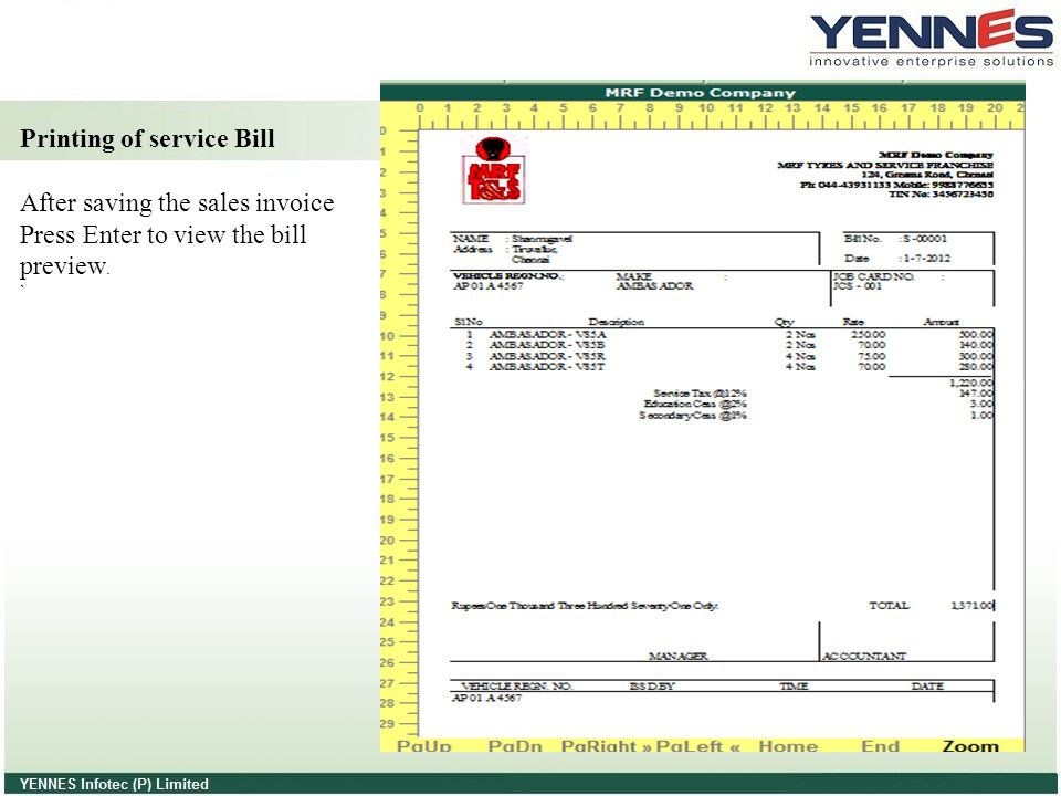 Printing of service Bill