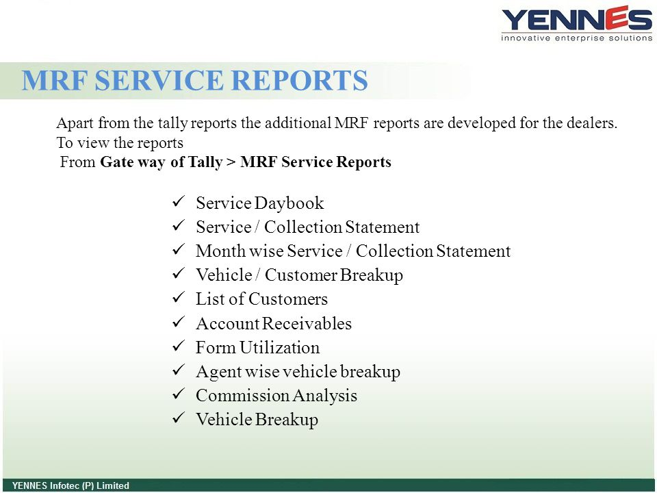 MRF SERVICE REPORTS Service Daybook Service / Collection Statement