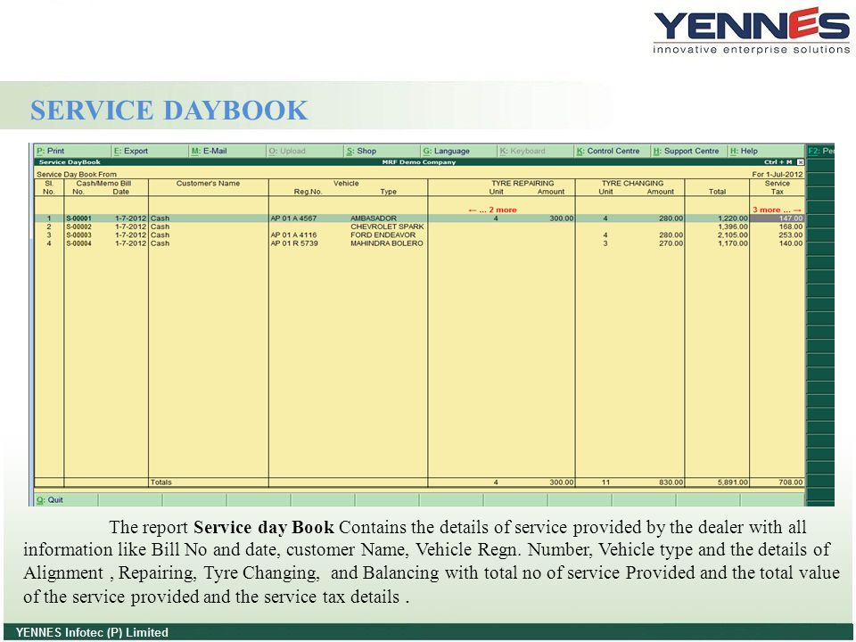 SERVICE DAYBOOK