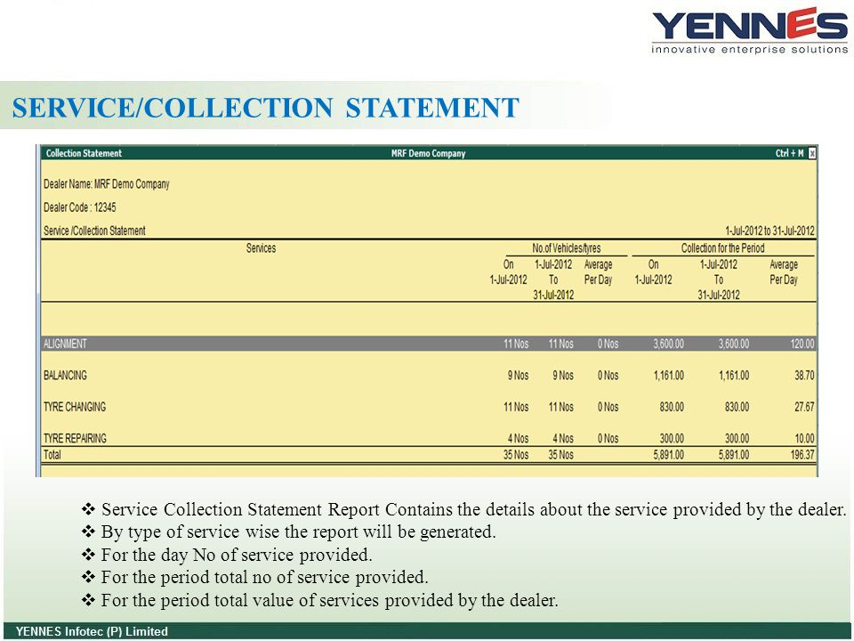 SERVICE/COLLECTION STATEMENT