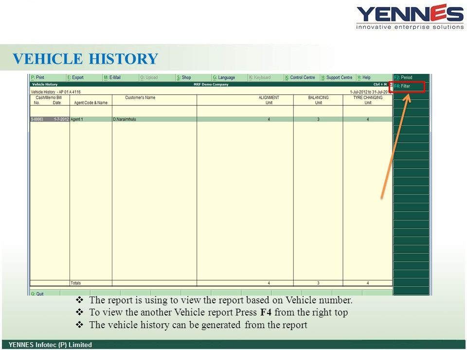 VEHICLE HISTORY The report is using to view the report based on Vehicle number. To view the another Vehicle report Press F4 from the right top.