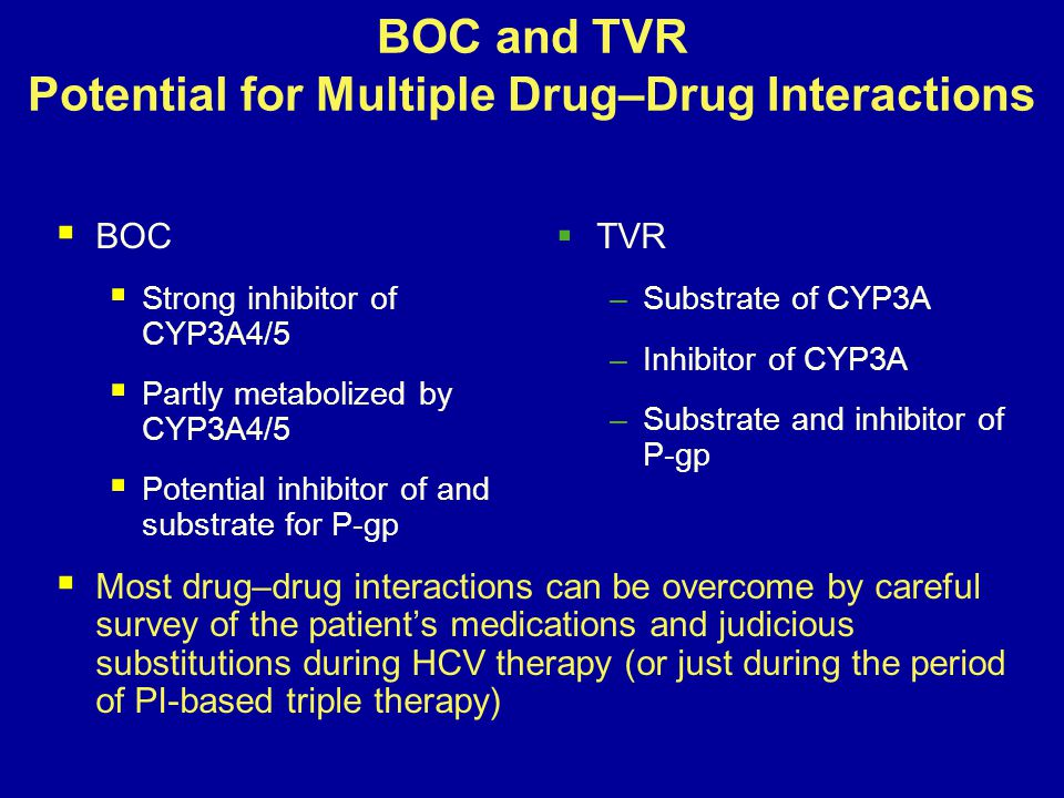 BOC and TVR Potential for Multiple Drug–Drug Interactions