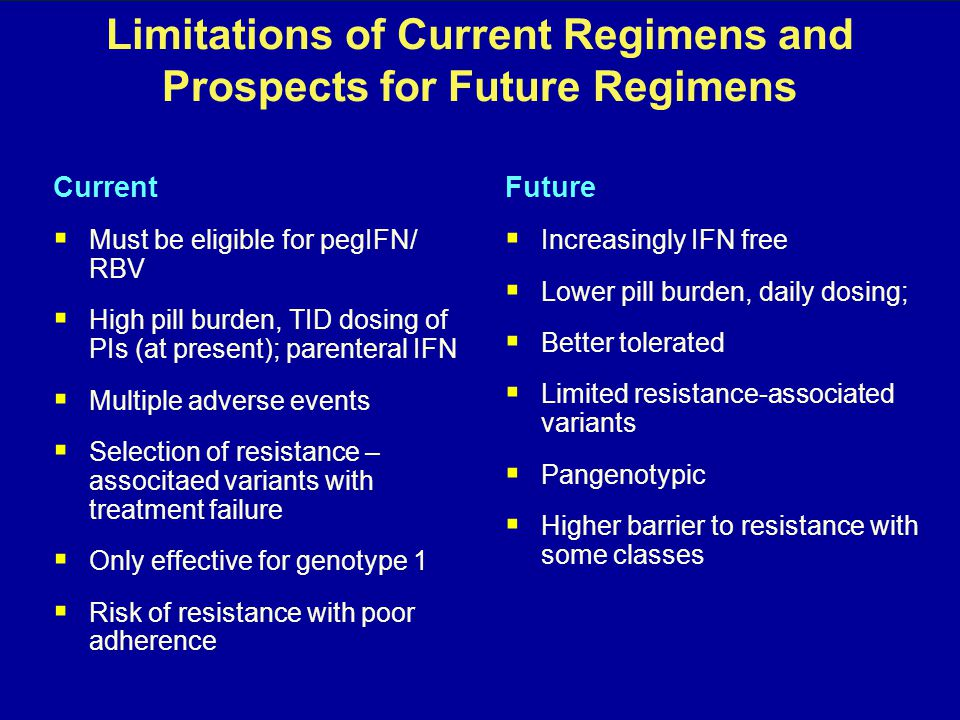 Limitations of Current Regimens and Prospects for Future Regimens