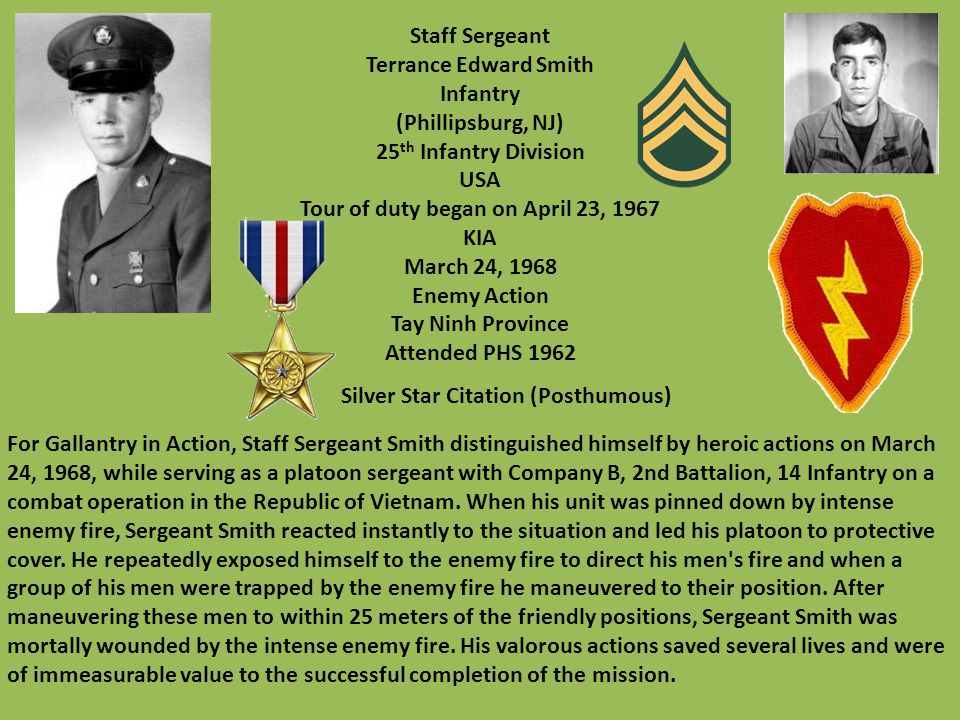 Tour of duty began on April 23, 1967 Silver Star Citation (Posthumous)