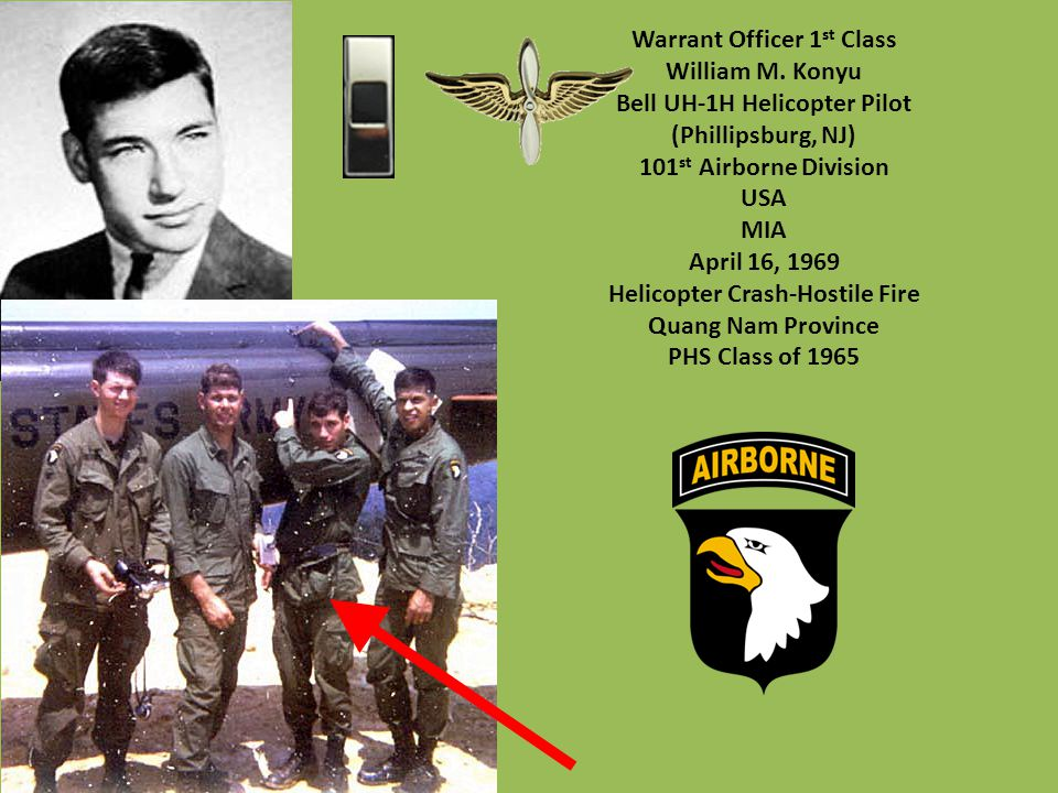 Warrant Officer 1st Class William M. Konyu Bell UH-1H Helicopter Pilot